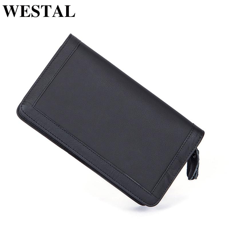 WESTAL lelaki dompet wallet dompet kulit asli lelaki untuk kad kredit zip panjang lelaki padat dompet fesyen klac hitam 9013