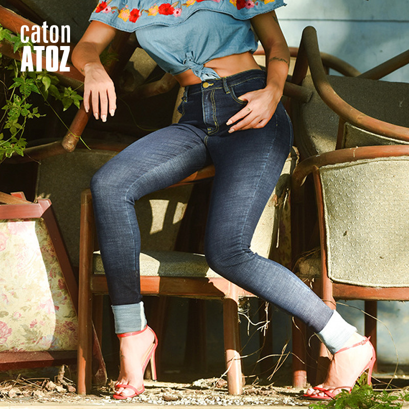 c4ae2e3a370a catonATOZ 2183 Women`s High Waist Jeans Stretchy Denim Jeans For Women Navy  Blue Skinny Pants Cuffed cuffs Trousers Jeans
