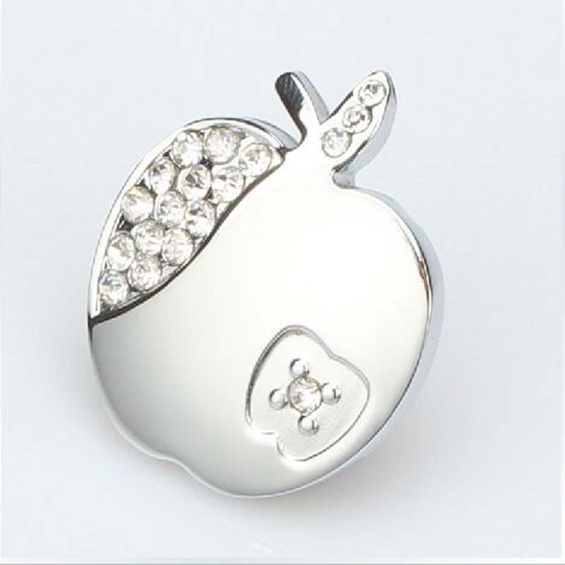 Fashion creative glass crystal apple drawer silver kitchen cabinet handle knob chrome diamond  dresser cupboard   knobs