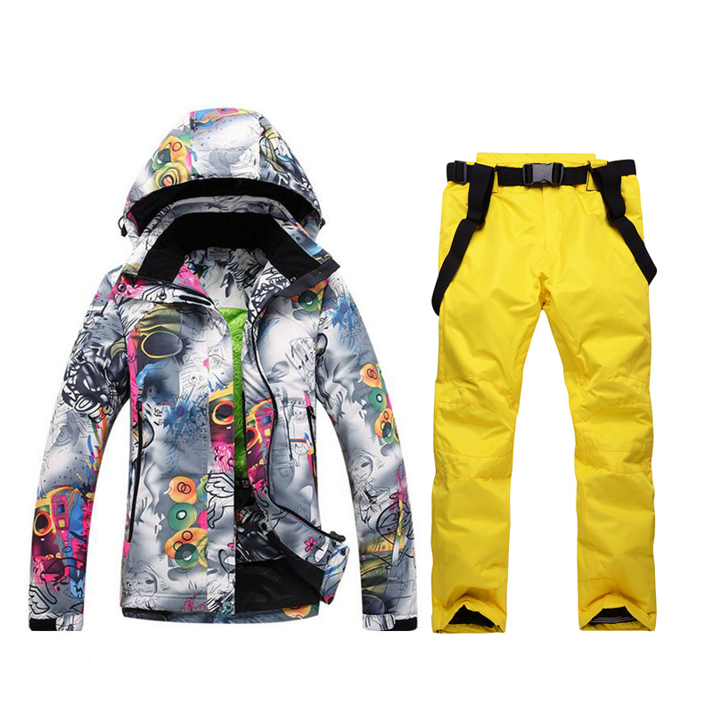 2019 Winter Ski Suit Female Jacket Set NEW High Quality Windproof Waterproof Warm Colorful Bright Ms. Ski Suit Sets Women