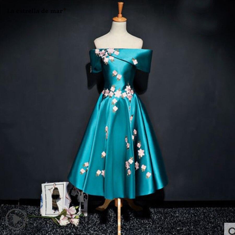 Kleid hochzeitsgast new Off Shoulder satin short sleeve ALine Deep teal burgundy pink silver black retro bridesmaid dress Tea