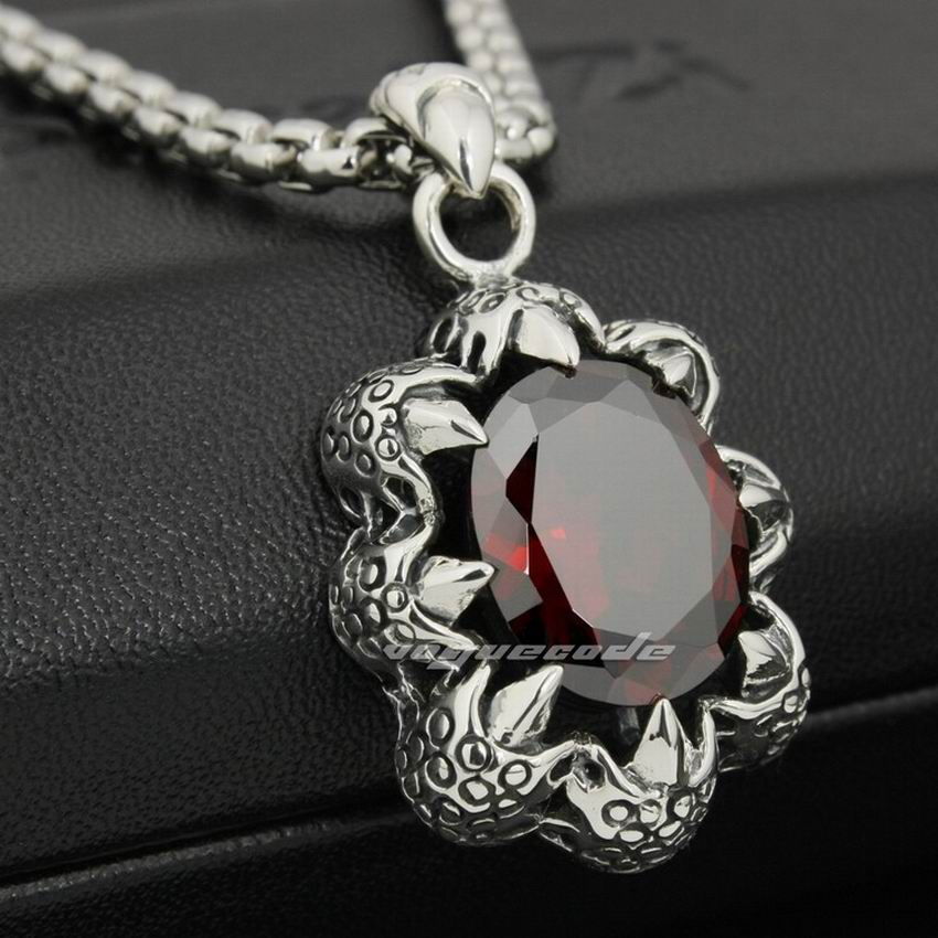 LINSION Huge Red CZ Dragon Claw 925 Sterling Silver Mens Biker Rock Punk Pendant 8P012-in Pendants from Jewelry & Accessories    1
