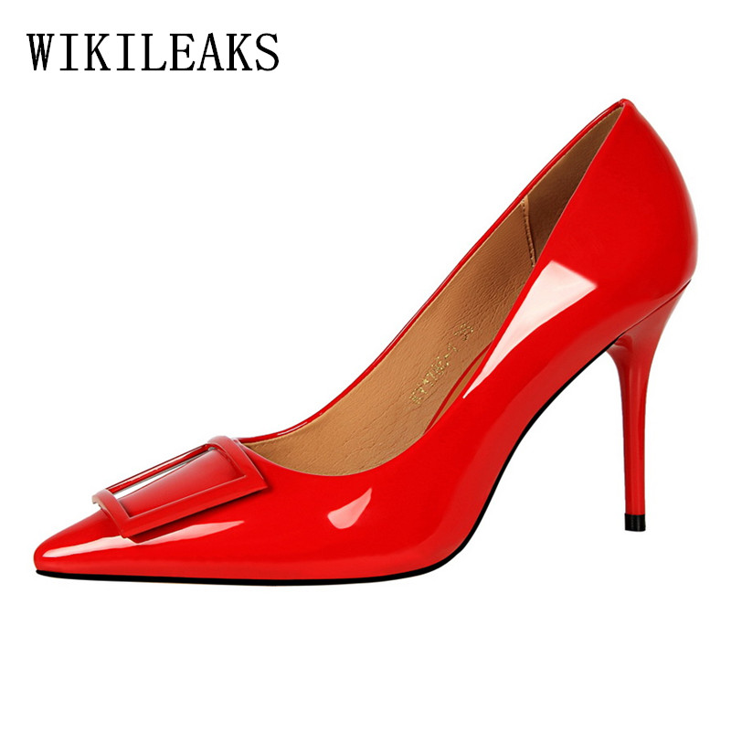 d72a46f5fa US $19.04 49% OFF|designer shoes women luxury 2019 Korean square buckle  fetish high heels bigtree shoes wedding shoes woman high heel pumps  saltos-in ...