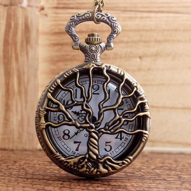 LIFE TREE Vintage Pocket Watches Classy Bronze Tree Of Life Quartz Pocket Watch