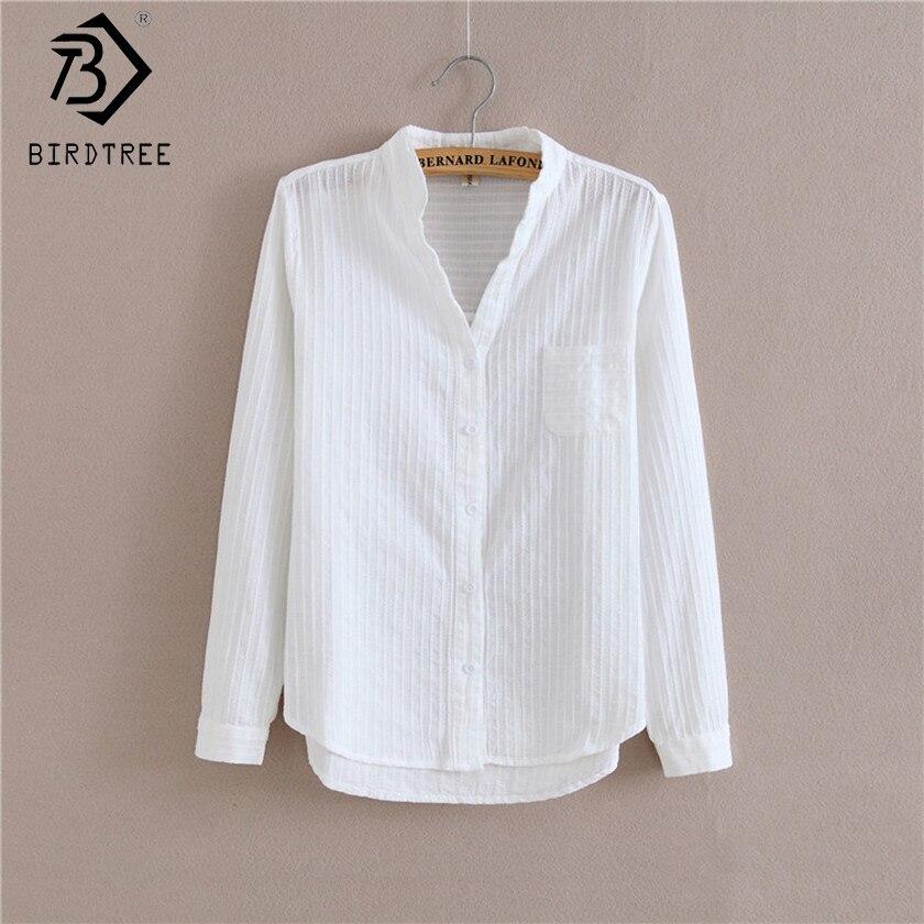 Femmes coréennes Blusas Preppy nouveau 2017 automne blanc dessus de chemise Kawaii broderie hauts bouton poche femmes chemises T78618A