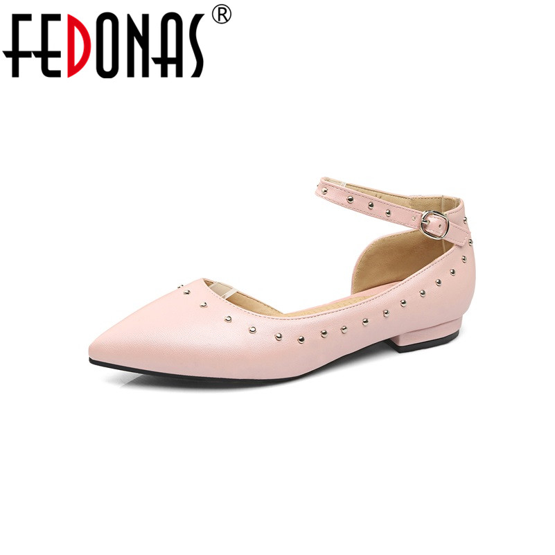 FEDONAS Plus Size(34-43) Shoes Woman Punk Rivets Ankle Strap Women Shoes 3 Colors Loafers Women's Flat Shoes Fashion Women Flats fedonas women sandals plus size 34 43 fashion ankle strap high heel summer women pump shoes woman cute colors elegant sandals