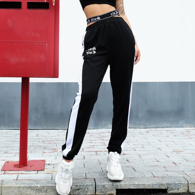 10659e3aa6c5 Women Loose Track Pants Side Striped Trousers High Waist Joggers Sweatpants  Long Elastic Ankle Length Streetwear Relaxed Autumn