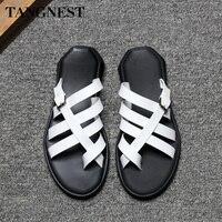 Tangnest Summer New Men Casual Sandals Slip On Men's Gladiators Leisure Outdoor Slides Fashion Beach Sandals Black White XML239