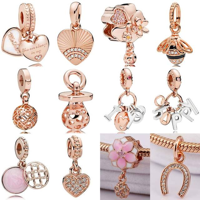 3bd1ada7b727b US $4.19 31% OFF|Rose Mother and Daughter Hearts Fan of Love Wildflower  Meadow Bee Pendant bead Fit Pandora Bracelet 925 Sterling Silver Charm-in  ...