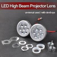 Universal 17.6W*2 LED High Beam Far Shooting 2.5 Single Beam Projector Lens with Led Devil Eye for Headlight H7 9005/9006 etc