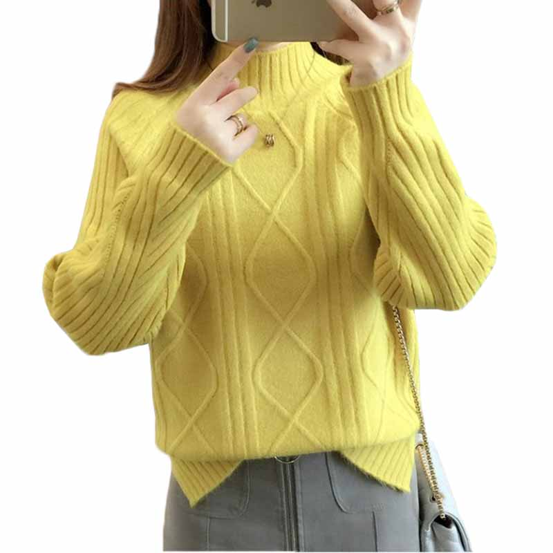 2018 New Ladies Sweater Solid Half Turtleneck Pullover Autumn Winter Bottoming Sweater Loose Tops Warm Long-sleeved Jumper AA368
