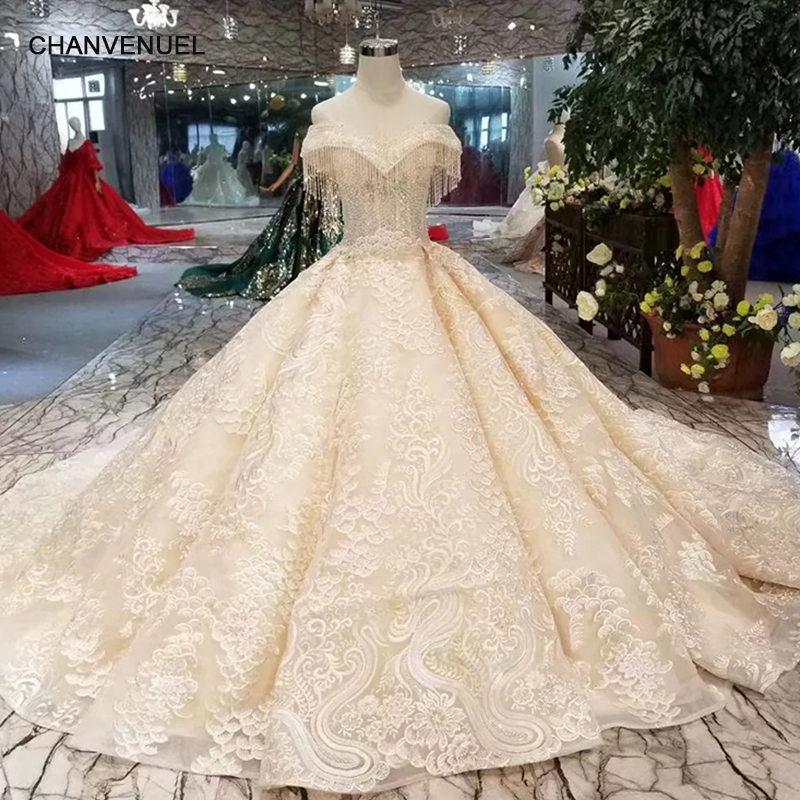 Weddings & Events Ls94451 Lace Flowers Champagne Beauty Evening Dress V-neck Off Shoulder Lace Up Back Party Dress With Long Train Quick Shipping Discounts Price
