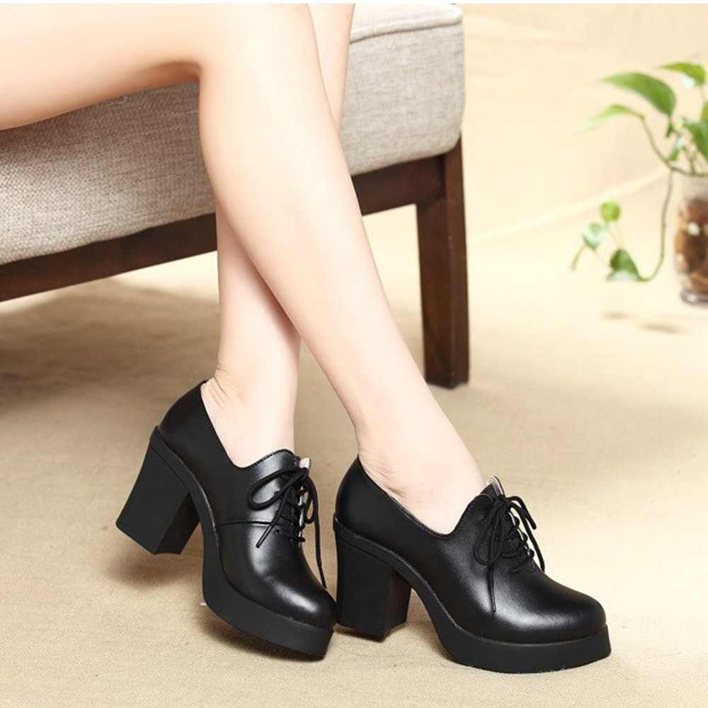 Women  Cow Genuine leather High heels Office & Career Pumps 5-8cm  Black Platfom Women Lace-up Ladies Footwear Shoes For Woman