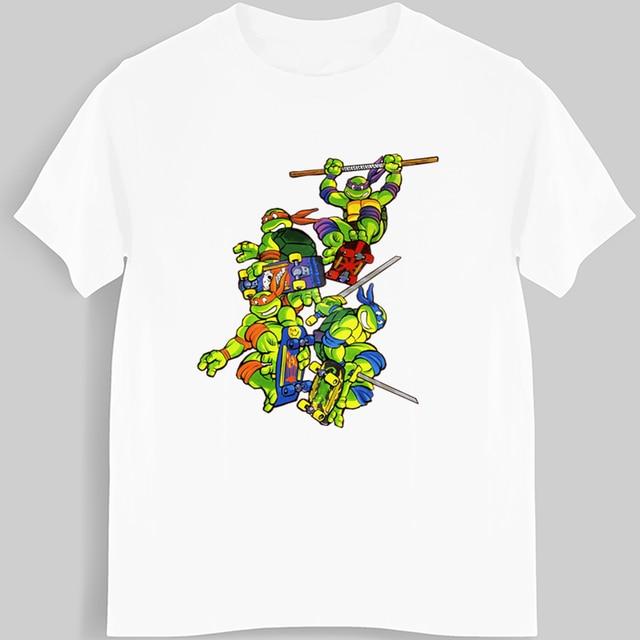 94faa7332 Camiseta de manga corta de algodón para hombre Anime con estampado de tortuga  Tortuga Ninja camisetas