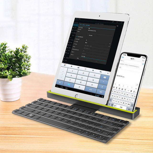 Universal Portable Folding BT Wireless bluetooth Keyboard Rollable Foldable Intelligent Magnetic Switch For Table PC iPad iPhone 5