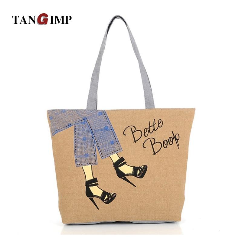 1f1d9b6cf802 Tangimp Для женщин холст Сумки на высоком каблуке Обувь Дизайн сумка  Повседневное Универсальный Повседневное торгового Para Mujer плечами Сумки