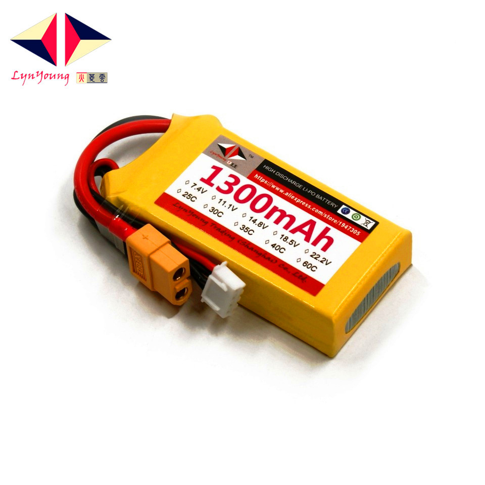 LYNYOUNG rc plane Lipo battery 3S 11.1V 30C 1300mAh for RC Truck Car Boat Drone Helicopter