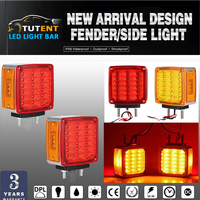 KEYECU 2x Truck Trailer Square Double Face Pedestal Stop Turn Tail Light Amber Red 39 LED
