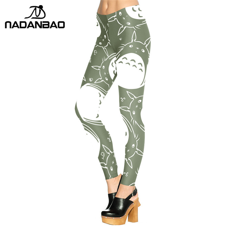 NADANBAO Woman Legging Neighbor Totoro Design Legins Green And White  Leggins Printed Women Leggings Women Pants