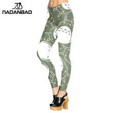 Женские леггинсы с принтом NADANBAO, зеленые и белые леггинсы с принтом «neighter Totoro», женские штаны