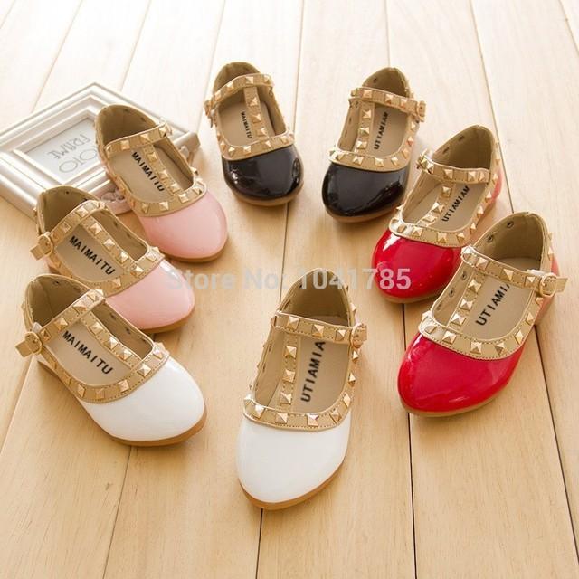Meninas de metal rebite princesa sapatos primavera sapatos coréia, Crianças de couro outono plana sapatos sapatos de dança sapatos de festa rainha bonito 4 col