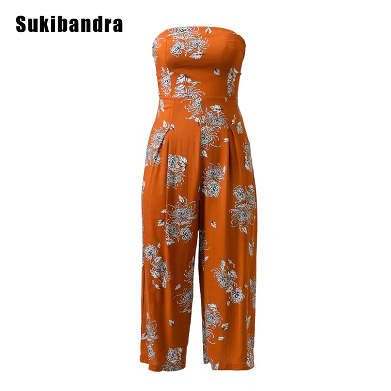 Sukibandra Summer Orange Floral Off Shoulder Rompers Womens Wide Leg Jumpsuit Sleeveless Long Overalls Jumpsuits for Women 2017