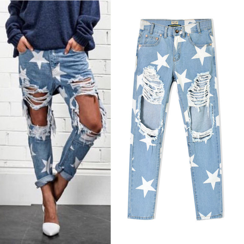 Aliexpress.com : Buy Star Cut Out Sexy Jean Pants Light Blue Denim ...