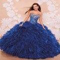 Por Encargo Debutante Vestido Azul Oscuro Organza Cristalino Brillante Rebordear Ruffles Quinceanera del Vestido Vestido de Fiesta De La Mascarada