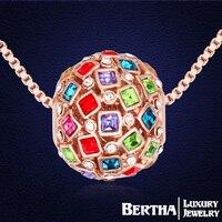 Austriacki Kryształ Z Swarovski Rocznika Naszyjniki Wisiorki Wzrosła Złoty Kolor Moda Biżuteria Kobiety Multicolor Ball Naszyjnik