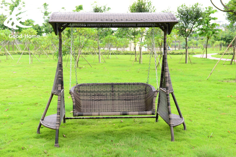 Outdoor Rattan Double Garden Swing Chair Rocking Happy Four Basket 3