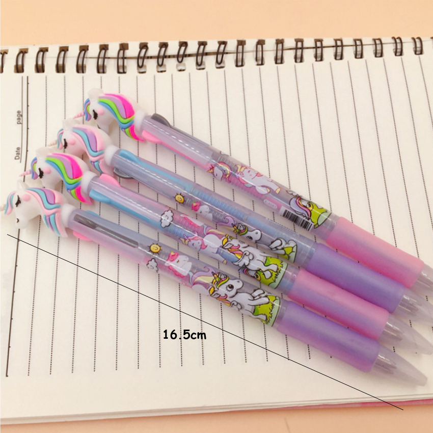 Image 5 - 30pcs/lot Lovely cartoon 3 In 1 Multi Color Writing ballpoint pen students black office signature pen Stationery for office-in Ballpoint Pens from Office & School Supplies