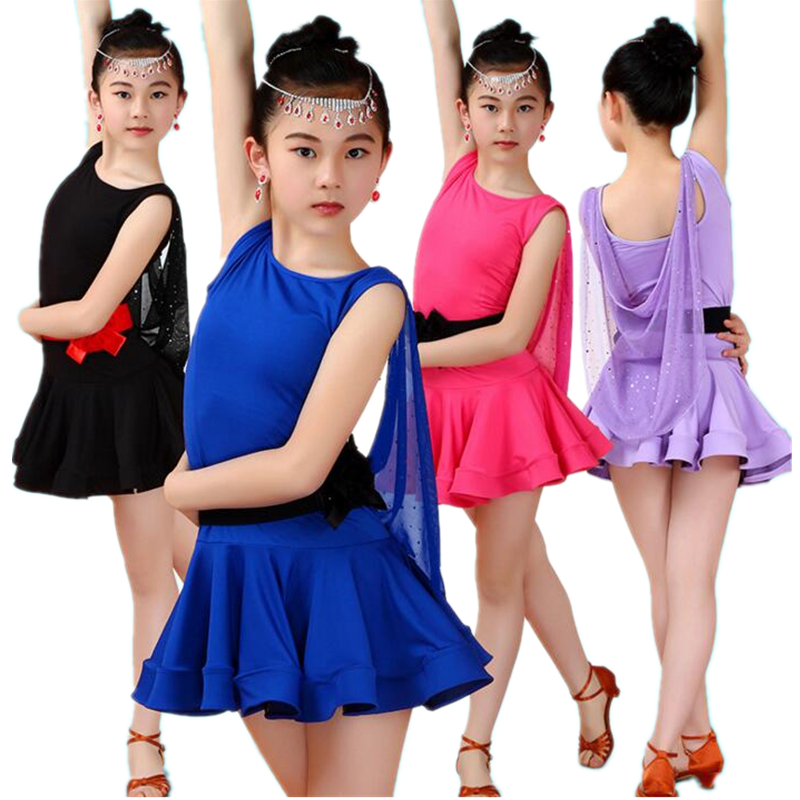 Фото Fashion Elegant Girls Latin Dance Dress Ballroom Dress Black Tango Dress Light Smooth Comfortable Kids Salsa Dance Dresses