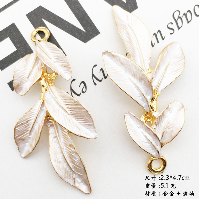10pcs 47*23mm Fashion handmade gold alloy enamel leaf charms for bracelet tree leaf pendant dangle DIY metal jewelry making