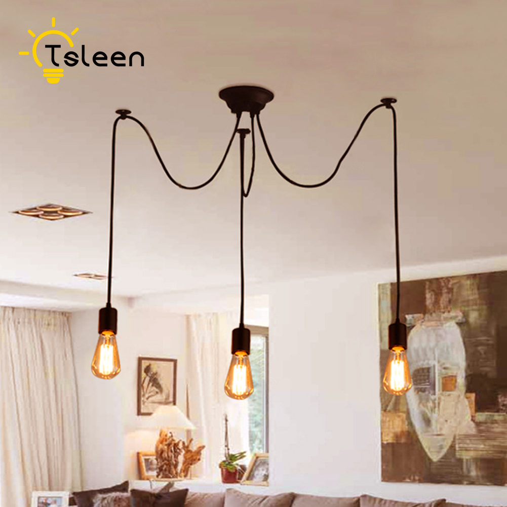 TSLEEN Cheap DIY Pendant Lights Retro Hanging Led Lamps Edison Fixtures Spider Ceiling Lampe Light for Living Room 1-12 Heads tsleen free shipping vintage loft nordic classic e27 e26 led retro edison bulb pendant lights ceiling golden light fixtures