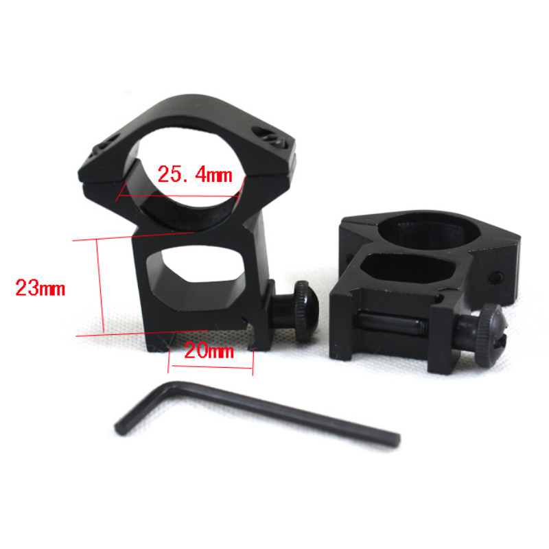 Hunting Gun accessories 25.4mm 2PCs High Profile Picatinny/Weaver Rings Rifle Scope Rails Mount for Flashlight 20mm