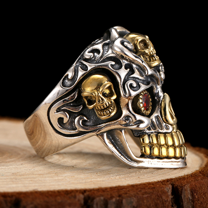 ZABRA 925 argent Sterling rouge zircon cubique yeux crâne anneau mâle or réglable anneaux pour hommes Punk gothique bijoux - 4