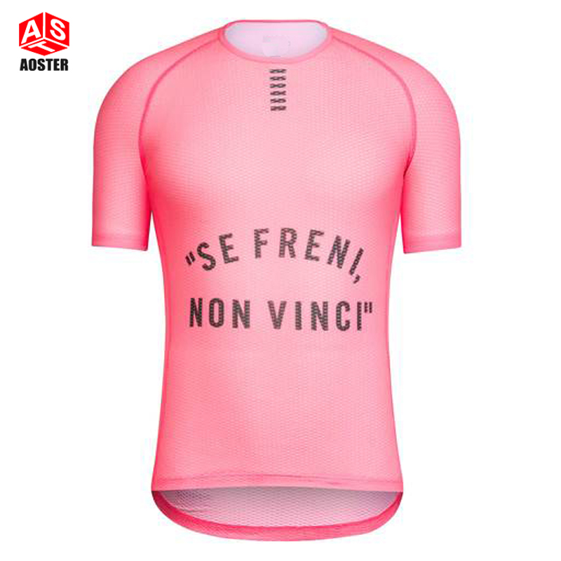High Vis Pink Pro Team Base Layer Short Sleeve 100% ITLAY MITI Fabric cycling shirt men or women elite Mesh cycling underwear