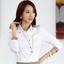 BIG SIZE 5XL Lady Cotton White Shirts 2016 Career OL Plaid Patchwork Tops  Women Businees Fashion 8122a14eef84