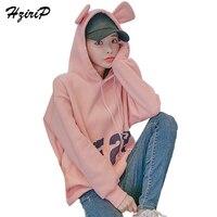 HziriP Cute Letter Printing Long Sleeve Women S Sweatshirt 2017 Autumn Loose Plus Cashmere Rabbit Ears