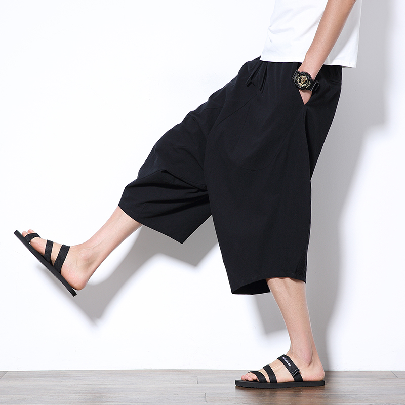 Zogaa New Hip Hop Baggy Cotton Linen Harem Pants Loose Large Cropped Trouser Wide-legged Bloomers Chinese Style Pants Drawstring