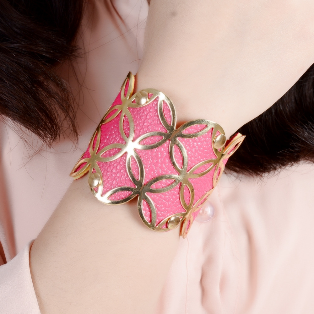 Colorful Flower Faux Leather Cuff Bracelets Back Coin Heart Shape Bangles  For Women Fashion Jewelry Wide