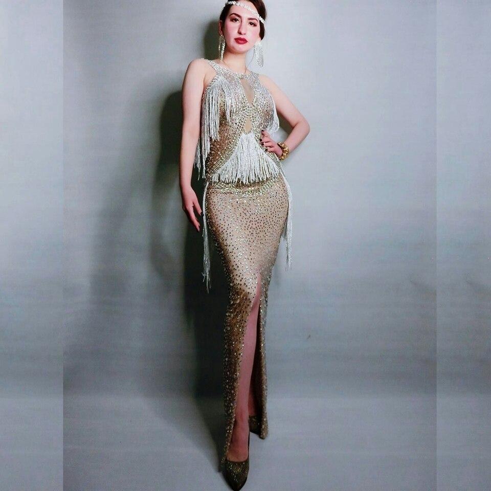 Sparkly cristais franja vestido cantor desempenho traje festa de aniversário celebridade cheia strass vestidos sem mangas vestido longo