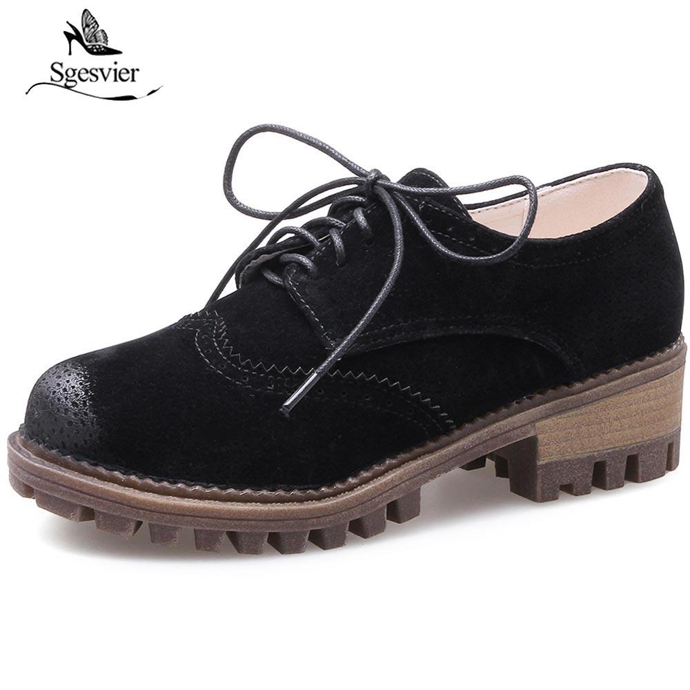 negro Heel 33 Calzado Sgesvier Up Británico Mujer Med 2018 Ox229 Estilo Zapatos Gray Casual Lace 43 khaki Nuevo Talón Grueso Mujeres Bloque Tamaño T0twtFqr1