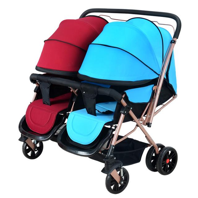 Alta qualidade two-way carrinho de bebê Gêmeo do bebê pode se sentar pode chocar o alta paisagem carrinho pode dobrar bebê carruagens