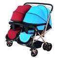 De alta calidad de Doble bebé de dos vías cesta bebé puede sentarse puede sorprender al paisaje de alta mesa puede retirarse del bebé carruajes