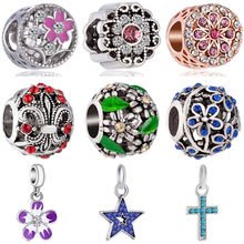 Hot Selling Crystal Leaves Wing Cross Star Flower Shoes Heart Bead Fit Original Pandora Charms for Women Party Gift DIY Jewelry(China)