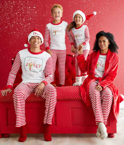 Family Matching Christmas Pajamas Sets Xmas Adult Kids Cotton Jolly Tops+Striped  Pants Sleepwear Nightwear 80dd2d94c