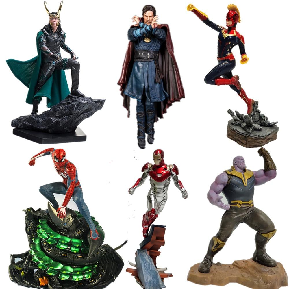 Avengers Captain Marvel Thanos Ironman Spiderman Loki Doctor Strange Statue PVC Action Figures Avengers Endgame Dioarama