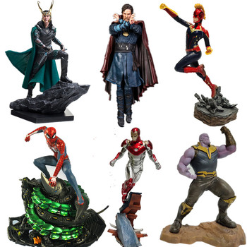 Avengers Captain Marvel Thanos ironman spiderman Loki Doctor Strange Statue PVC Action Figures Avengers Endgame Dioarama фото