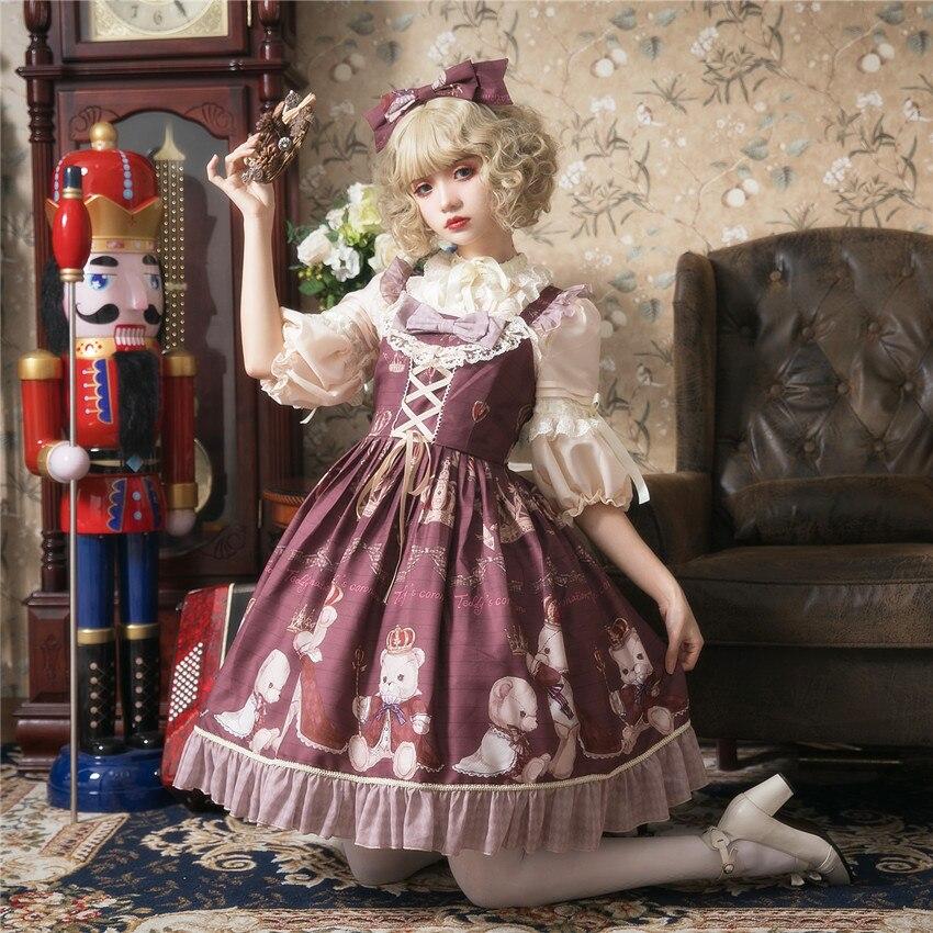 Crowned Bear ~ 2019 Sweet Lolita JSK Dress Printed Short Party & KC